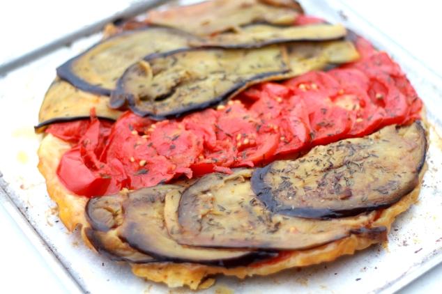 Tarte tatin tomates-aubergines
