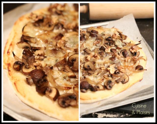 Pizza champignons, gorgonzola et noix