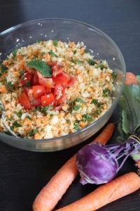 Taboulé végétal citronné (couscous d'épeautre, chou-rave et carottes)