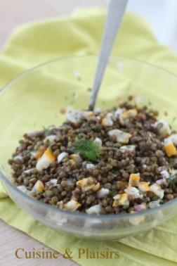 salade de lentilles, haddock, citron et aneth